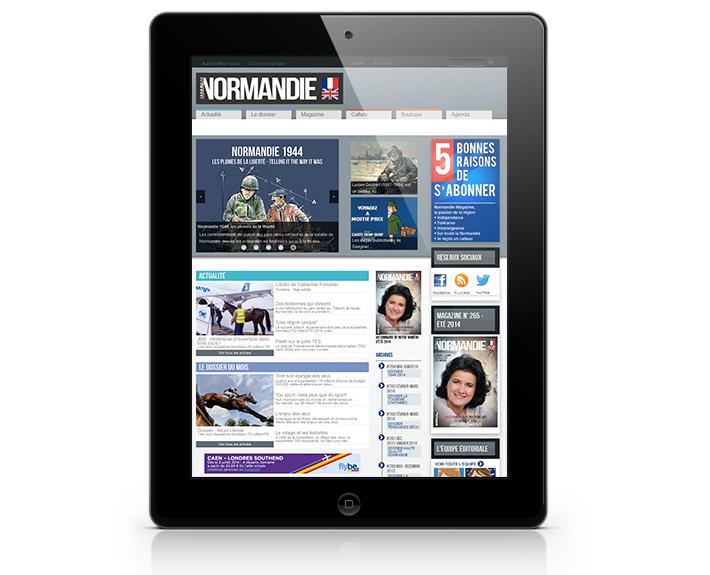 portfolio à rennes, site internet sur tablette Normandie Magazine