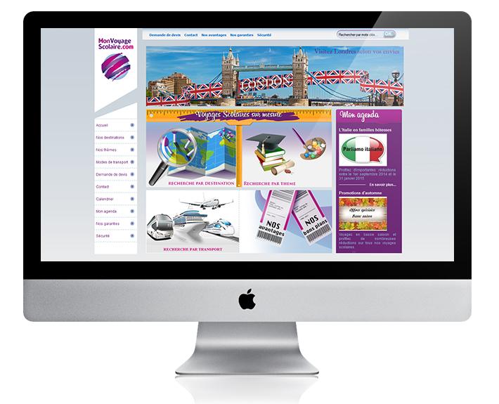 création de site web à rennes, site e-vitrine Monvoyagescolaire.com