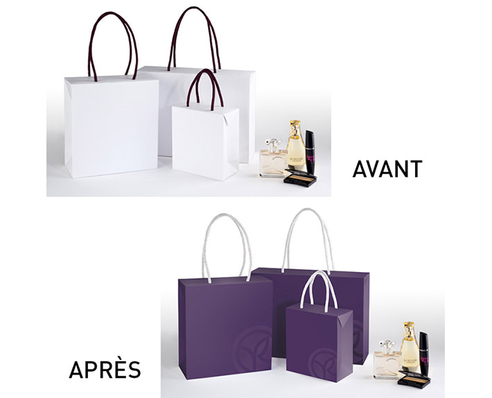 agence de communication à Caen et Vire, photogravure sur sac avant et après