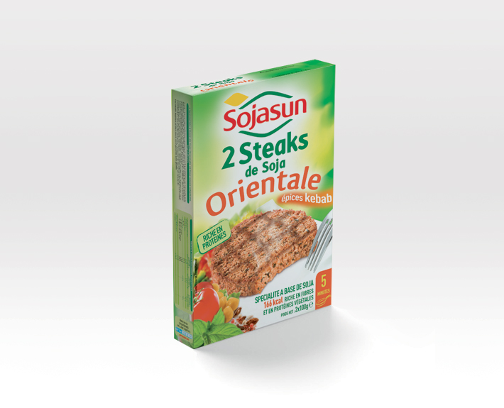 agence de communication à caen, packaging Sojasun 2 steaks orientale